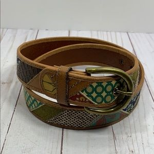 Fossil boho mixed print fabric and leather belt
